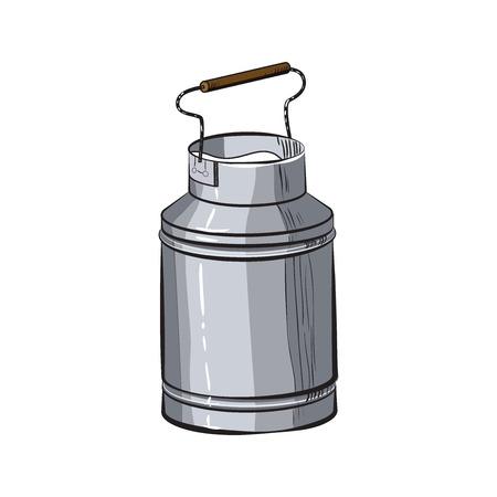 Croquis de couleur peut de lait de lait frais - style naturel vecteur de graine vintage osier osier Banque d'images - 82989564
