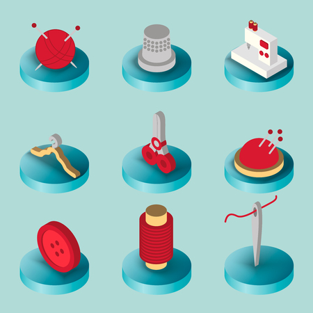 Sewing flat isometric icons
