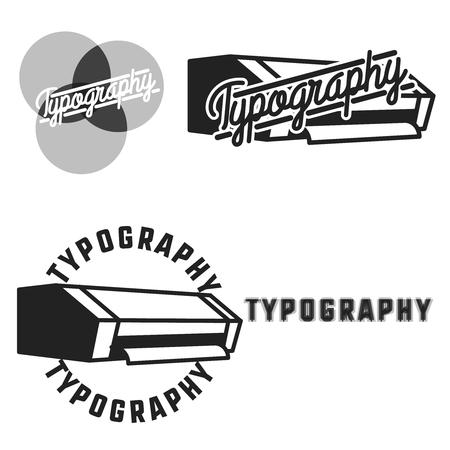 rolled newspaper: Vintage typography emblems