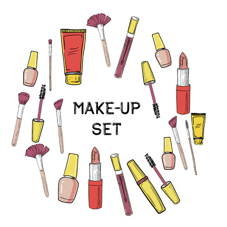 Hand drawn Beauty and makeup icons set