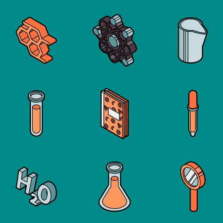 Chemical color outline isometric icons