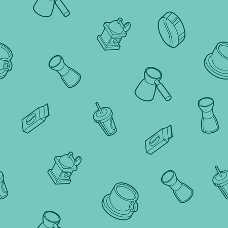 Coffee outline isometric pattern