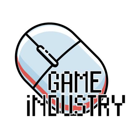 editorial: Color vintage game industry emblem