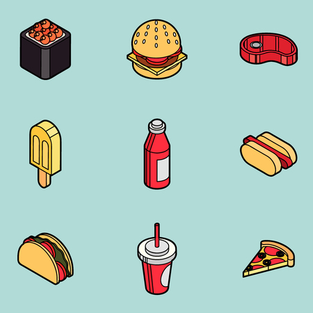 hot dog: Fast food outline color isometric icons