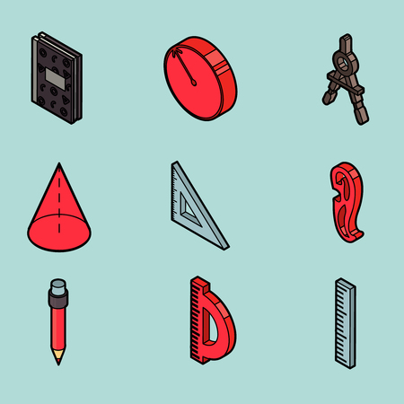Geometry color outline isometric icons