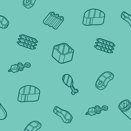 Meat color outline isometric pattern Illustration