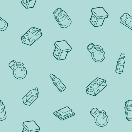 cottage cheese: Milk flat outline isometric pattern