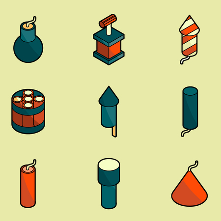 Pyrotechnics color outline isometric icons