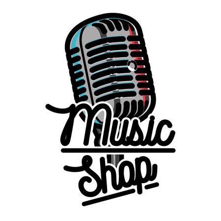 Kleur vintage muziek winkel embleem