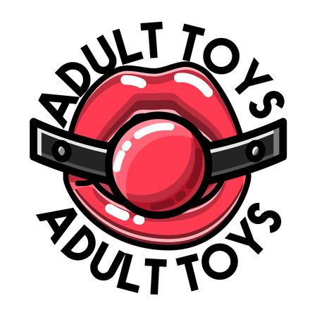 Color vintage emblema de la tienda de sexo. Ilustración de vector