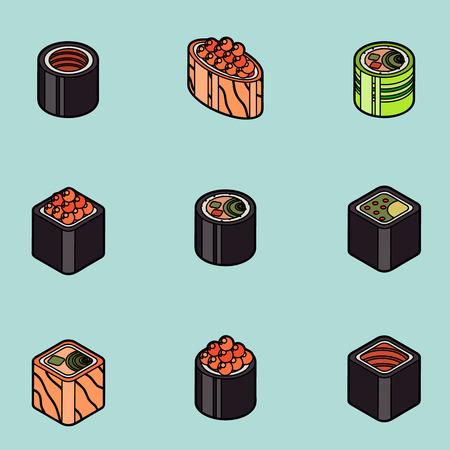 Sushi flat outline isomeric icons