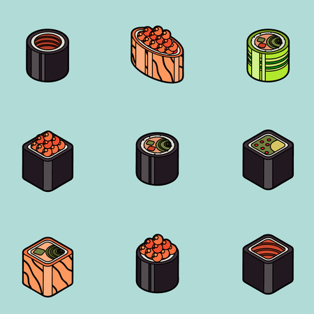 Sushi flat outline isomeric icons Stock Vector - 84214170