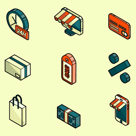 Shopping color outline isometric icons