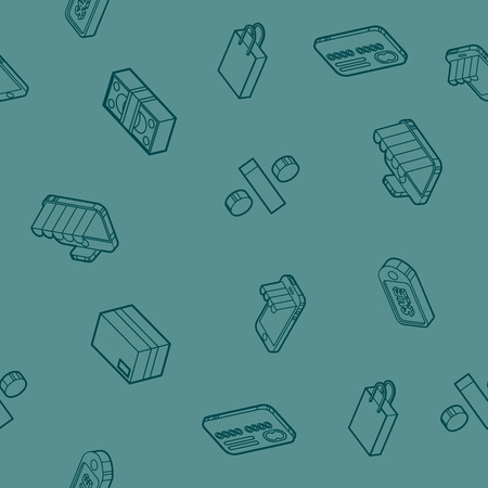 Shopping color outline isometric pattern
