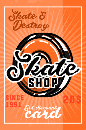 Color vintage skate shop banner.