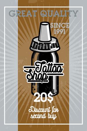 Color vintage tattoo shop banner.