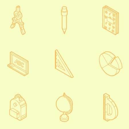 School outline isometric icons