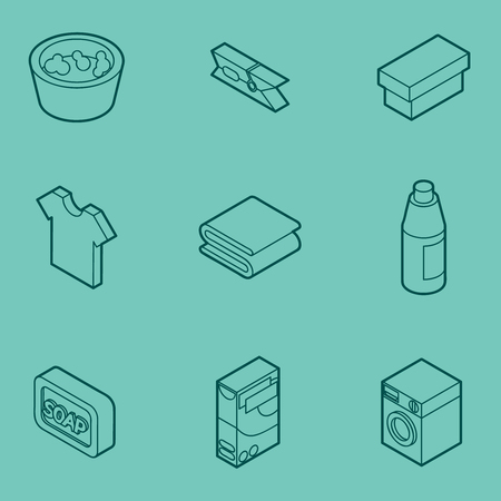 Laundry flat outline isometric icons. Illustration