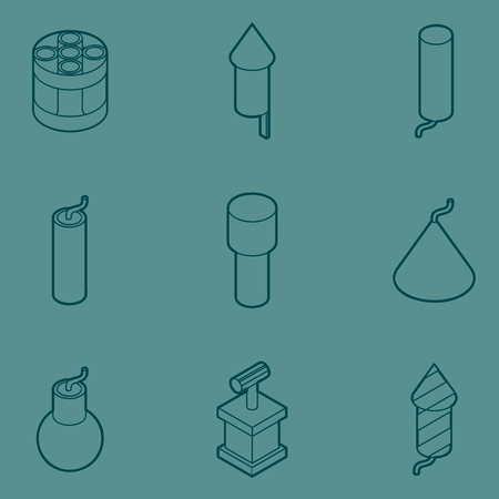 cartoon bomb: Pyrotechnics color outline isometric icons