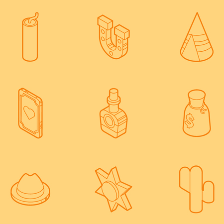 feature film: Wild west color outline isometric icons