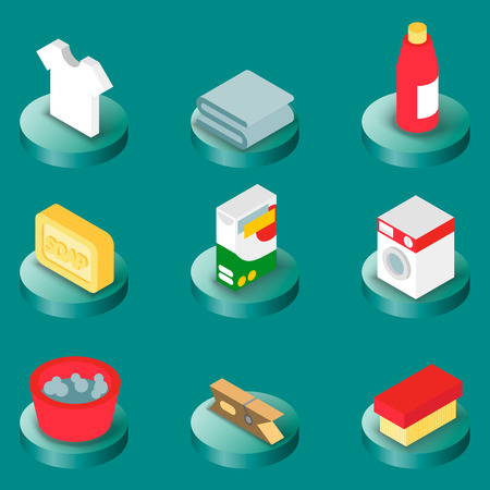 Laundry flat isometric icons