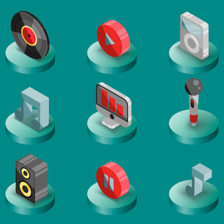 loudness: Music color isometric icons