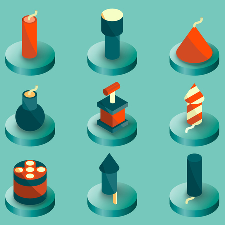 Pyrotechnics color isometric icons