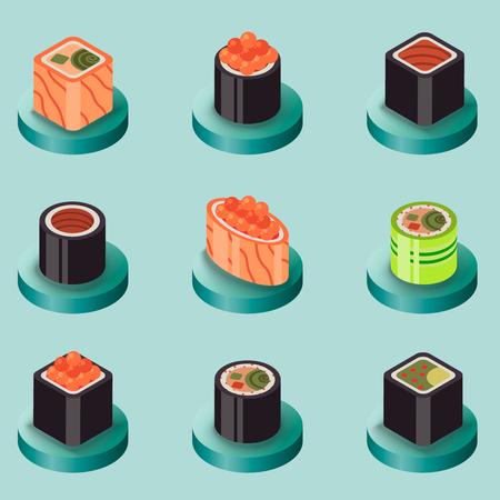 Icônes isomériques plates aux sushis