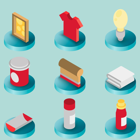 Silkskreen color isometric icons