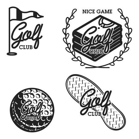 빈티지 골프 클럽 상징. 골프 선수권, 골프 장비 및 장비 배지 로고. 벡터 일러스트 레이 션, EPS 10
