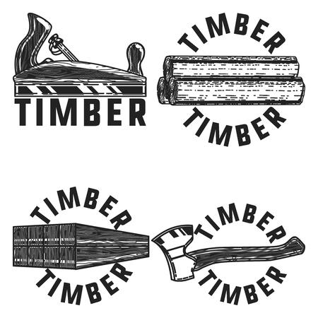 Vintage timber emblems. Design elements. Vector illustration EPS 10