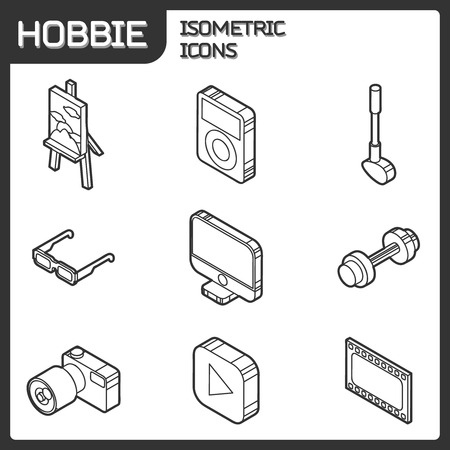 sports equipment: Hobbie outline isometric icons set and infographics elements