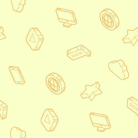 Media outline isometric icons pattern. Vector illustration, EPS 10
