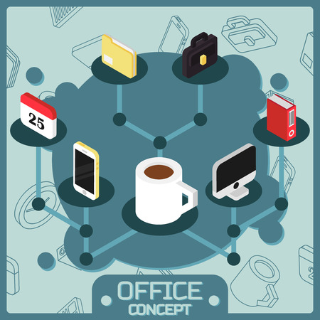 Office color isometric concept icons. Teamwork. Vector Icon Goal Set collaboration leadership concept image Иллюстрация