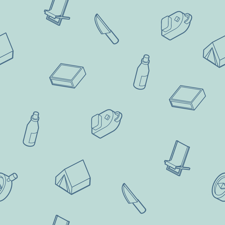 Survival kit outline isometric icons pattern. Vector illustration, EPS 10