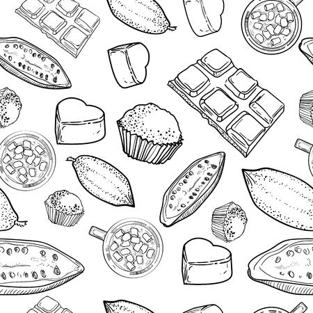 手は、白い背景でチョコレート スケッチ スタイルのベクトル図の種類のパターンを描画します。チョコレート、キャンディー、豆、多孔質