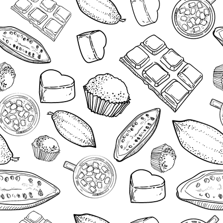 Hand drawn pattern of different kinds of chocolate sketch style vector illustration on white background. Chocolate bars, candies, beans, porous