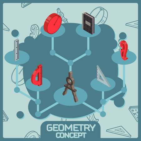 Geometry color isometric concept icons. Vector illustration, EPS 10