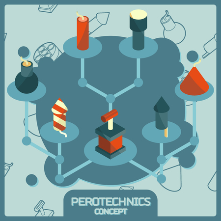 cartoon bomb: Pyrotechnics color isometric concept icons