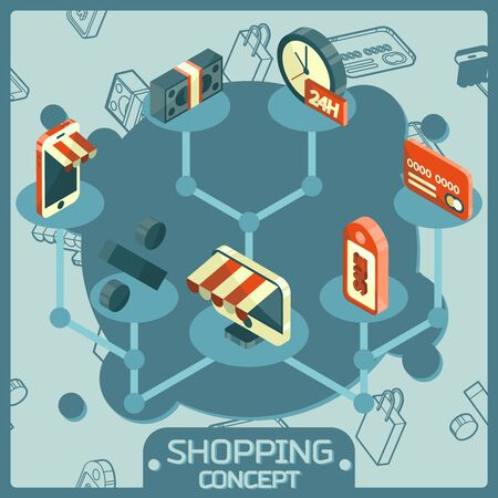 Shopping color isometric concept icons. Vector illustration, EPS 10