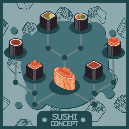 Sushi color isomeric concept icons Stock Vector - 85998258