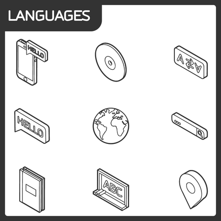 Languages outline isometric icons