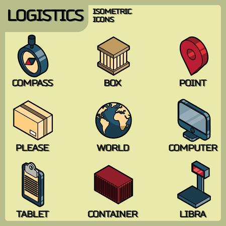 Logistiek kleur overzicht isometrische pictogrammen.