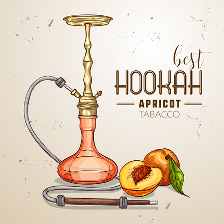 Vector hand drawn hookah
