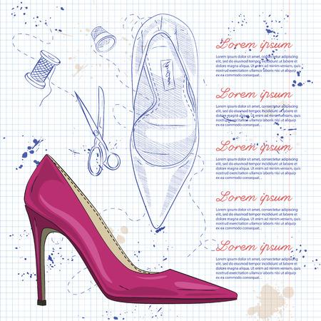 Chaussures pour femmes à l'esquisse de vecteur de mode. Banque d'images - 86553105