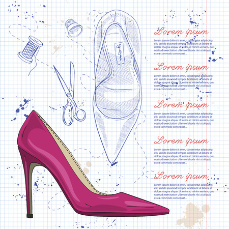 Fashion vector sketch womens shoes. 向量圖像