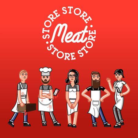 mujer en el supermercado: Meat store concept