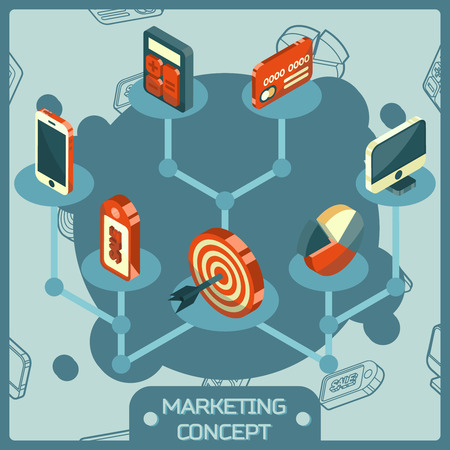 Marketing color isometric concept icons