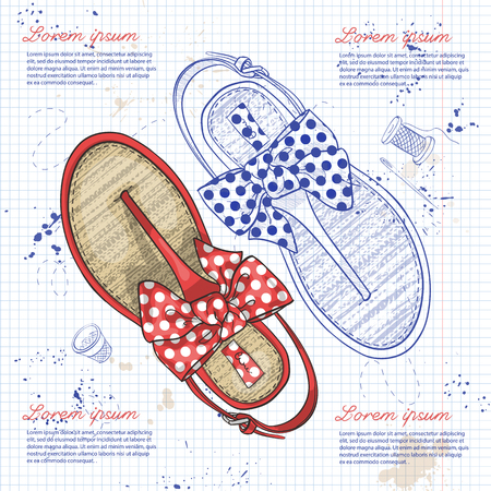 flip flops: Vector sketch womens flip flops with polka-dot bow on a notebook page.