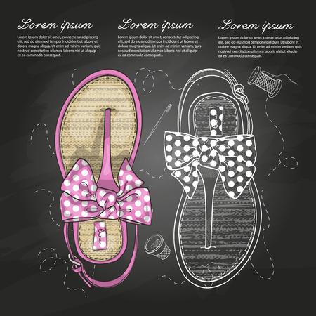 flip flops: Vector sketch women flip flops with polka-dot bow on a chalk board. Illustration